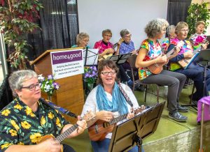 Bayfield Ukulele Society entertains at lunch time.
